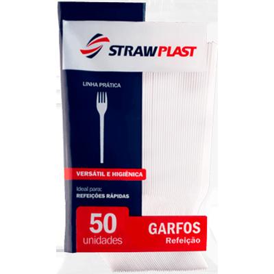Garfo descartável refeição cristal 50 unidades Strawplast pacote PCT