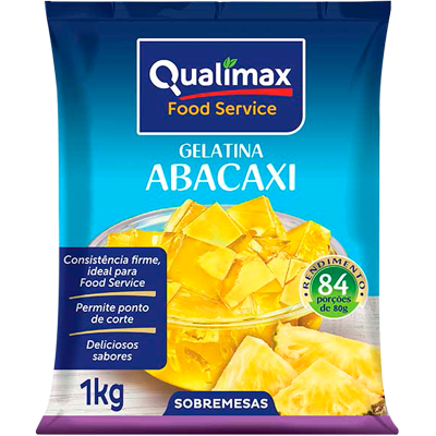 Gelatina sabor abacaxi 1kg Qualimax pacote PCT