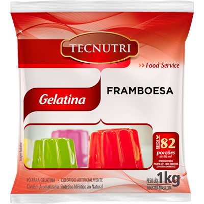 Gelatina sabor framboesa pacote 1kg Tecnutri PCT
