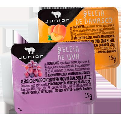 Geléia sabor uva e damasco blister unidades de 15g Junior UN
