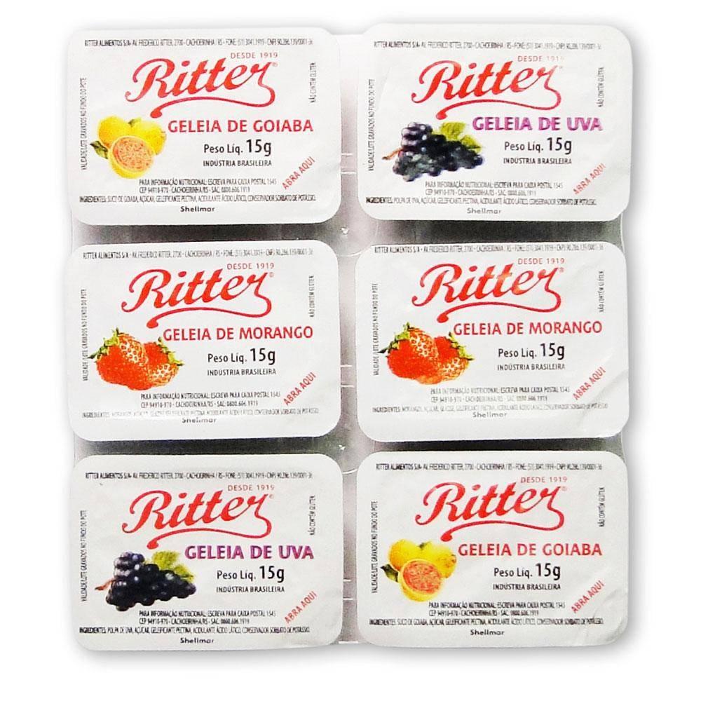 Geléia sabores sortidos blister unidades de 15g Ritter UN