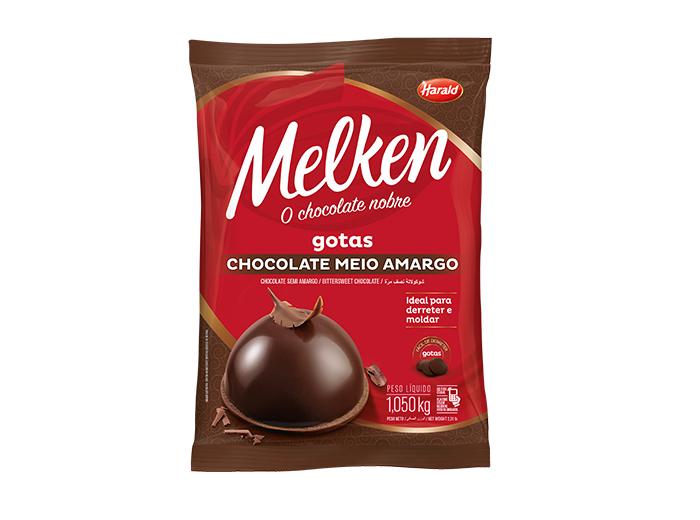 Gotas de Chocolate meio amargo 1,05kg Harald/Melken pacote PCT