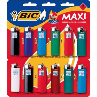 Isqueiro maxi cores diversas cartela 12 unidades Bic CX