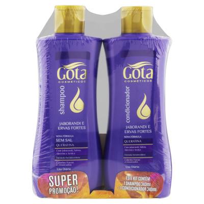 Kit contém Shampoo 340ml e Condicionador 340ml Jaborandi e Ervas Fortes unidade Gota Dourada UN