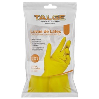Luva látex amarela multiuso tam. P com 1 par Talge pacote UN