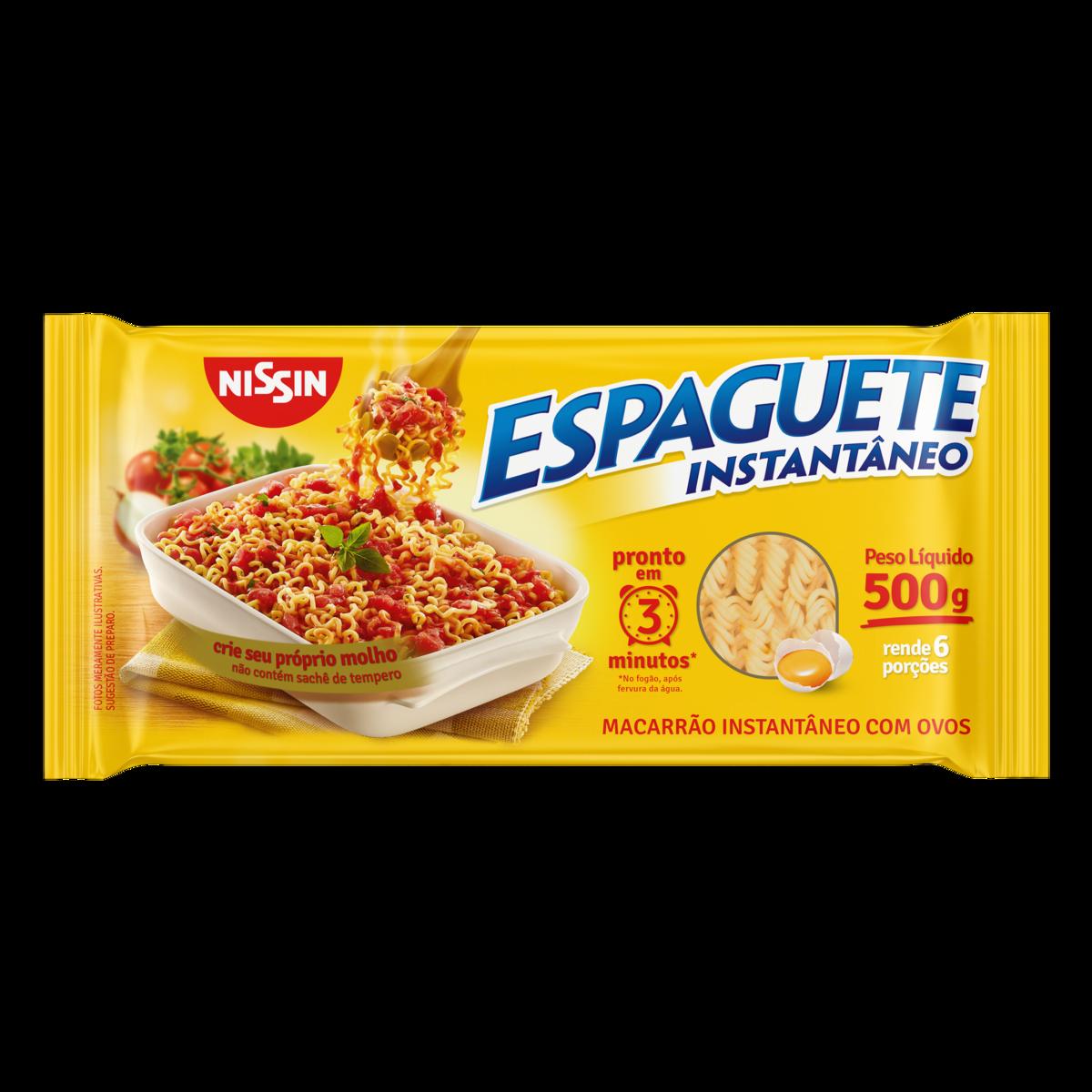 Macarrão Instantâneo Espaguete 3 minutos pacote 500g Nissin UN
