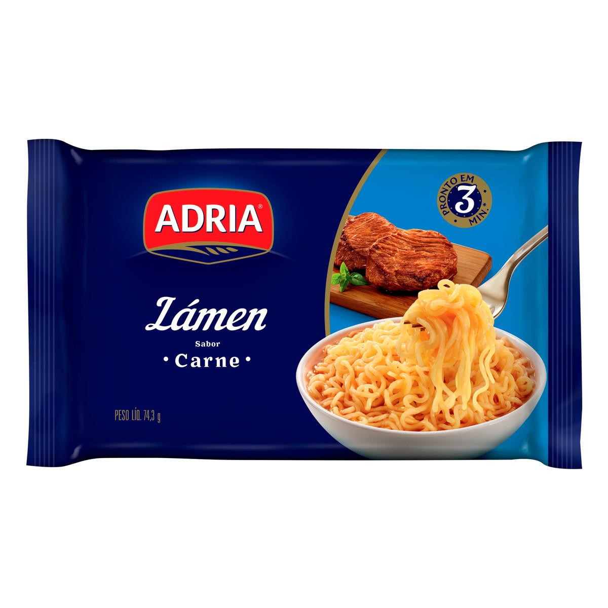 Macarrão Instantâneo Lámen sabor Carne 74,3g Adria pacote UN