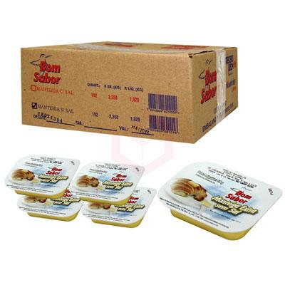 Manteiga sem sal 192 unidades de 10g Bom Sabor caixa UN