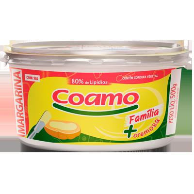 Margarina com sal 80% lipídeos 500g Coamo/Familia pote UN