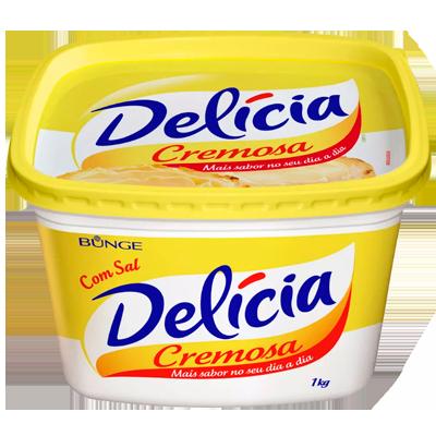 Margarina com sal 1kg Delicia pote KG