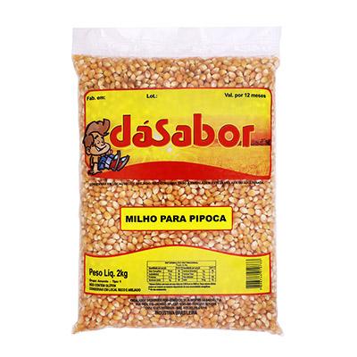 Milho de pipoca pacote 2kg DáSabor UN