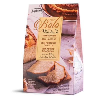Mistura para Bolo pão de ló sem glúten sem lactose e sem açúcar 300g Batpronto/Baptistella pacote PCT