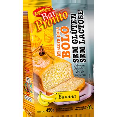 Mistura para Bolo sabor banana sem glúten sem lactose pacote 450g Batpronto/Baptistella PCT