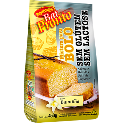 Mistura para Bolo sabor baunilha sem glúten sem lactose pacote 450g Batpronto/Baptistella PCT
