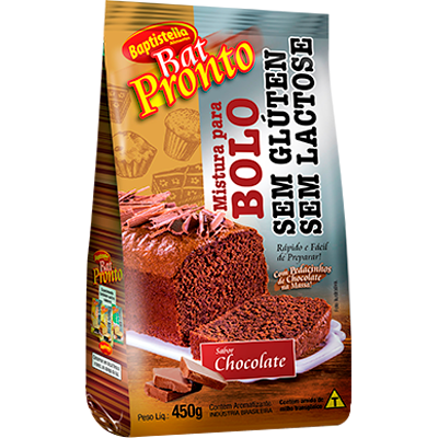 Mistura para Bolo sabor chocolate sem glúten sem lactose 450g Batpronto/Baptistella pacote PCT