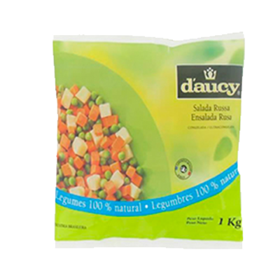 Mistura Salada Russa de legumes congelado 1kg Daucy pacote PCT