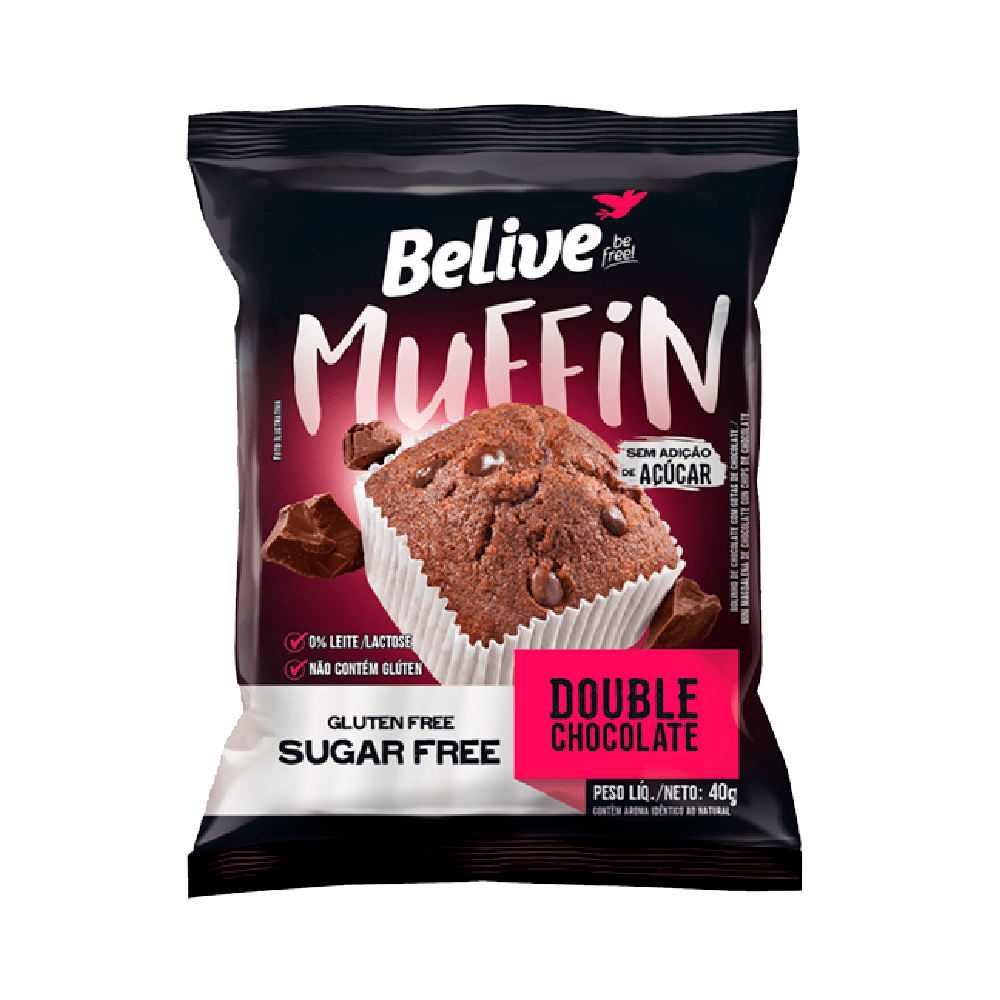 Muffin double chocolate sem glúten 40g Belive  UN