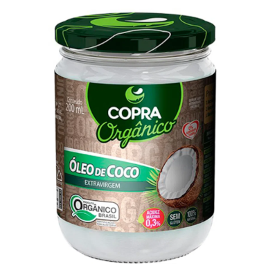 Óleo de coco extra virgem orgânico 200ml Copra vidro UN