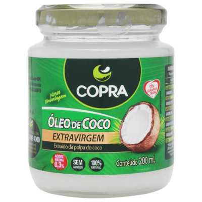 Óleo de coco extra virgem 200ml Copra vidro UN