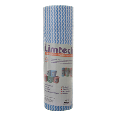 Pano de limpeza multiuso 30mts azul unidade Limtech rolo UN