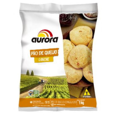 Pão de Queijo congelado lanche 1kg Aurora pacote PCT