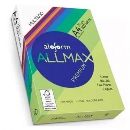 Papel Sulfite A4 75g/m² (500 folhas) Allmax pacote PCT