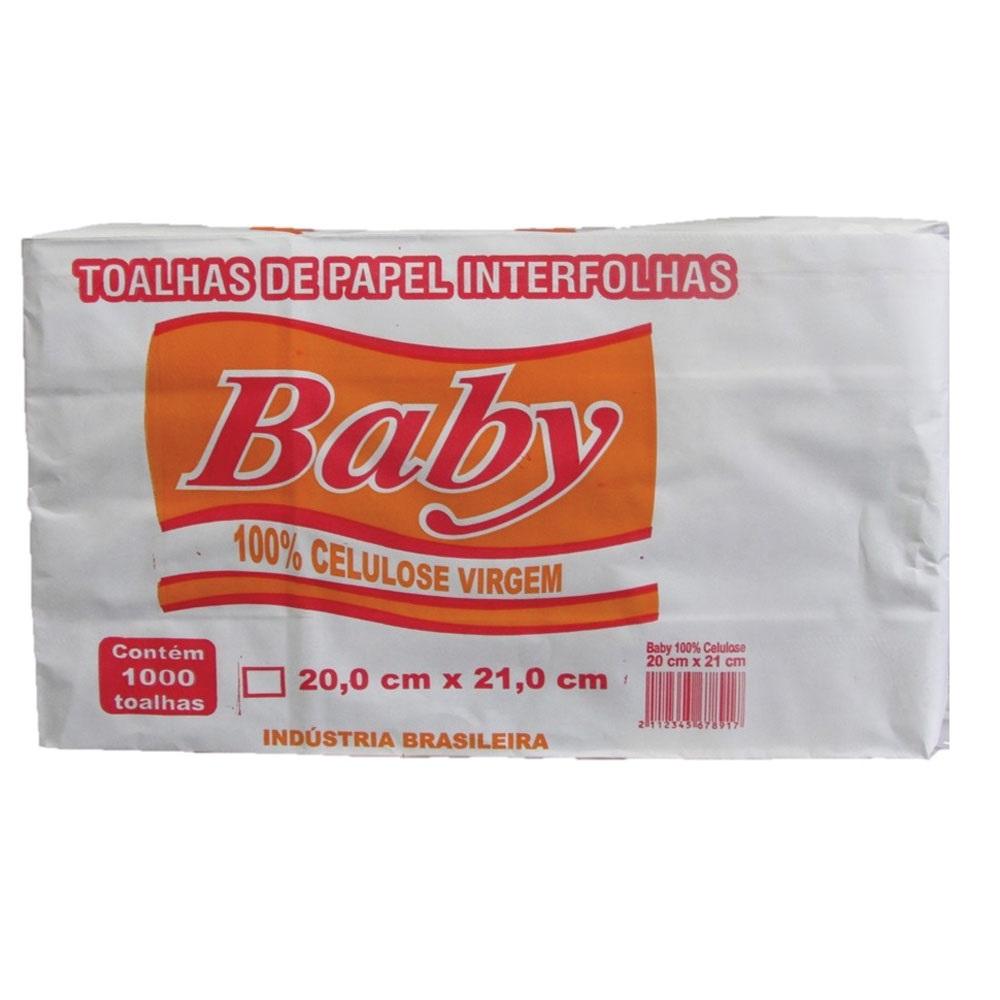 Papel Toalha Interfolha 2 Dobras 20x21cm 1.000 folhas Baby pacote PCT
