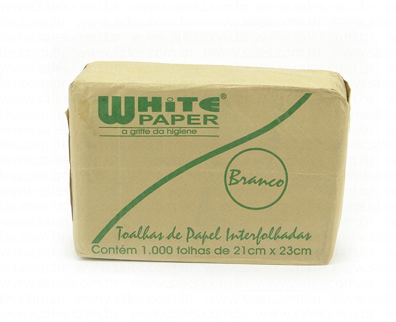 Papel Toalha Interfolha 2 Dobras 21x23cm Branco 1.000 folhas White Paper pacote PCT