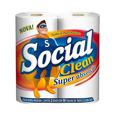 Papel Toalha  2 rolos Social Clean pacote PCT
