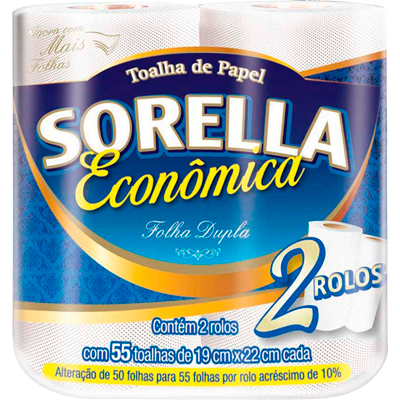 Papel Toalha  2 rolos Sorella pacote PCT