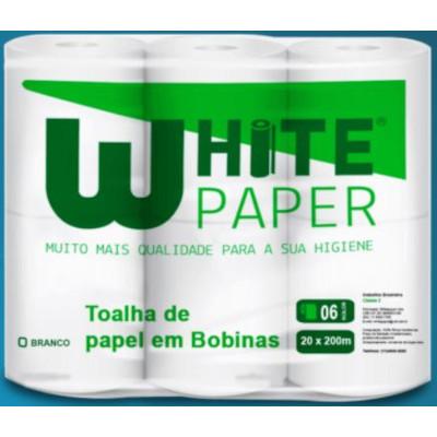 Papel toalha rolão branco pacote ( 6 bobinas de 200m) White Paper PCT