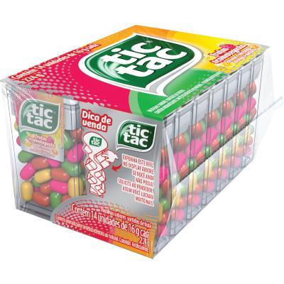 Pastilha sabor frutas caixa 14 unidades de 16g Tic Tac CX