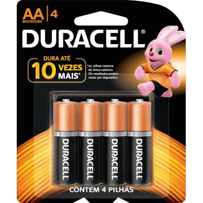 Pilha Alcalina AA 4 unidades Duracell pacote UN