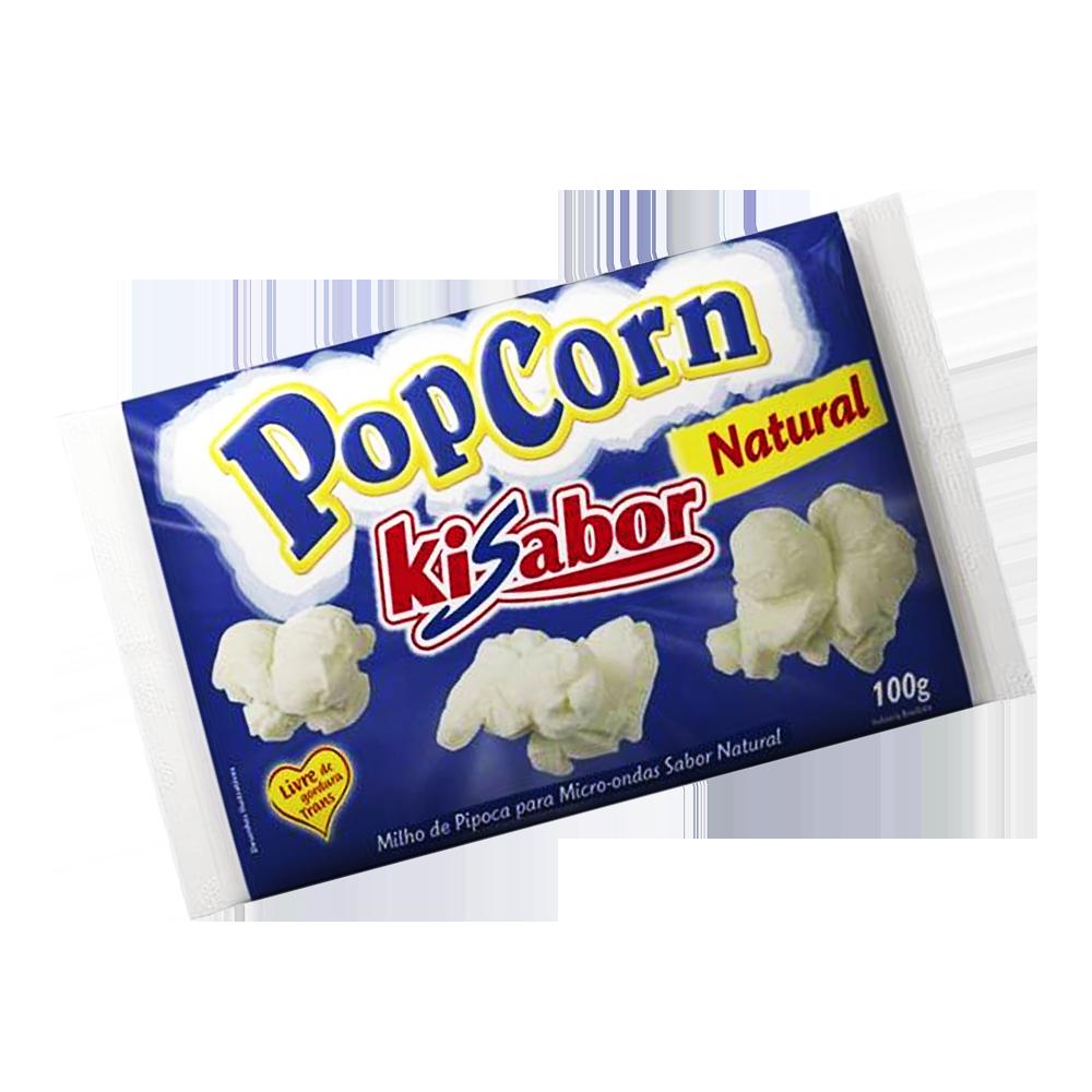 Pipoca de microondas sabor natural 100g KiSabor pacote UN