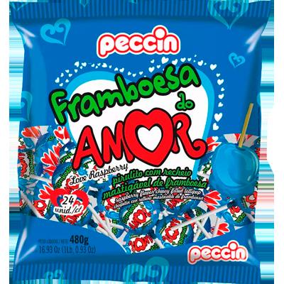 Pirulito framboesa do amor pacote 24 unidades Peccin PCT