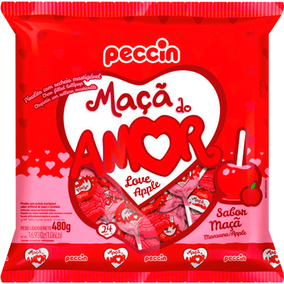 Pirulito maçã do amor 24 unidades Peccin pacote PCT