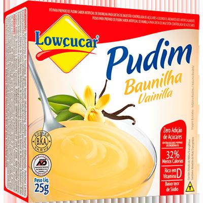 Pó para preparo de Pudim sabor baunilha zero açúcar caixa 25g Lowçucar UN