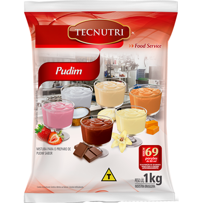Pó para preparo de Pudim sabor caramelo sem leite 1kg Tecnutri pacote PCT