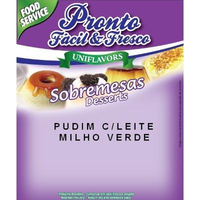 Pó para preparo de Pudim sabor milho verde com leite 1kg Pronto Fresco pacote PCT