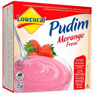 Pó para preparo de Pudim sabor morango diet 25g Lowçucar caixa UN