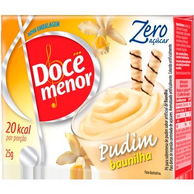 Pó para preparo de Pudim zero açúcar sabor baunilha 25g Doce Menor caixa UN