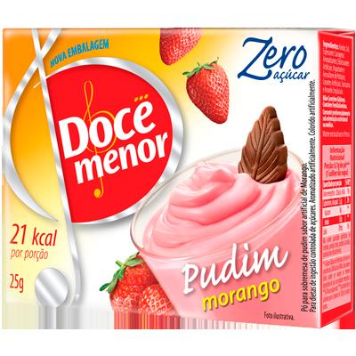 Pó para preparo de Pudim zero açúcar sabor morango 25g Doce Menor caixa UN