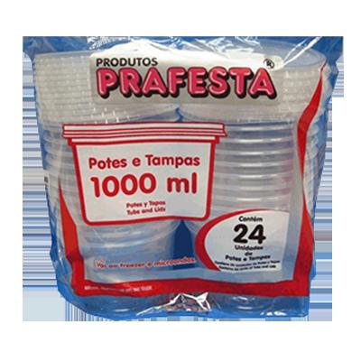 Pote descartável plástico redondo 1000ml pacote 24 unidades Prafesta UN