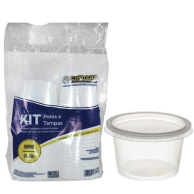 Pote descartável plástico transparente 500ml 25 unidades Copozan pacote PCT