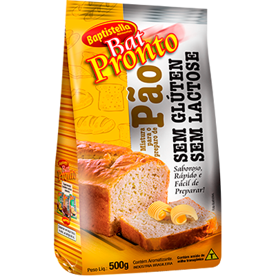 Pré mistura para pão sem glúten sem lactose 500g Batpronto/Baptistella pacote PCT