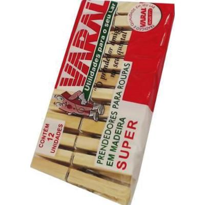 Pregador de roupa madeira super 12 unidades Varal pacote PCT