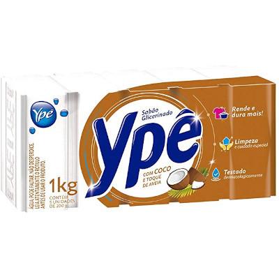 Sabão em barra glicerinado de coco e toque de aveia 1kg (5 unidades de 200g) Ype pacote PCT