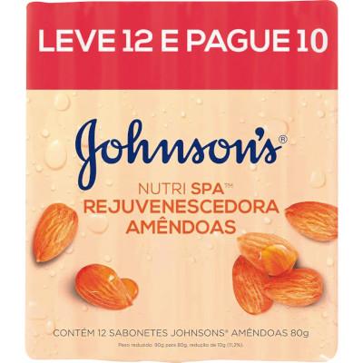 Sabonete em barra amêndoas Leve 12 Pague 10 pacote 12 unidades de 80g Johnson's PCT