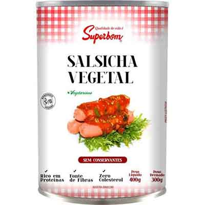Salsicha vegetal à base de proteína de soja lata 400g Superbom UN