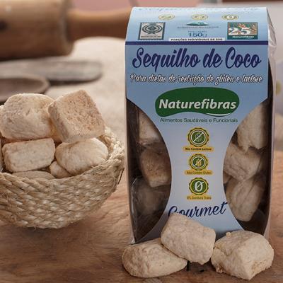 Sequilhos sem glúten e sem lactose com 0% de gordura trans pacote 100g Naturefibras UN
